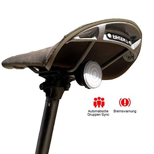 SHANREN Raz Pro Smart Fahrradrücklicht, Bremswarnungen, Auto-Group-Sync Fahrradrücklicht mit Lichtsensor, optionale Halterungen für Sattelstütze/Sattel/Helmlicht, wiederaufladbares Bike Light Rear