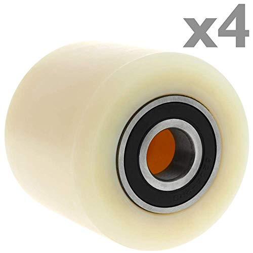 PrimeMatik - Paletten Fixierer Rad für Hubwagen Nylon Rolle 80x60 mm 600 Kg 4-Pack