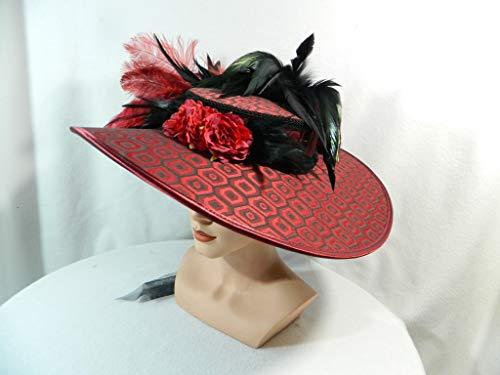 Damenhut rot schwarz groß Sonnenhut Gothic Ascot Anlasshut Fascinator