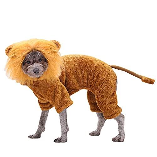 LWKBE Perro len Traje Ropa para Mascotas para Fiesta de Halloween simulacin len Mascotas Trajes Cosplay Vestir Disfraz Mascota len con Capucha Gato Traje para Fiesta,Oro,M
