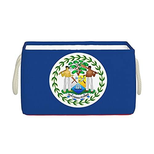 Aufbewahrungskörbe, Belize Flagge, Aufbewahrungskorb, faltbar, dekorative Körbe, Organisationsbox mit Handgriffen für Kleidung, Regal, Zuhause, Schrank, Schlafzimmer, 40 x 25 x 20 cm
