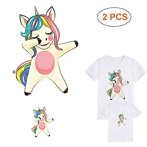 Unicorn Patches Iron On Stickers Appliques Clothes Decal Heat Transfer Vinyl Paper with Lovely Dancing Unicorns Waterproof Badges DIY Accessory for T-Shirt, Jeans, Jackets, Hats(Large and Small)