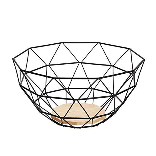 AmazonBasics - Cesta para fruta de alambre de metal, con base de madera