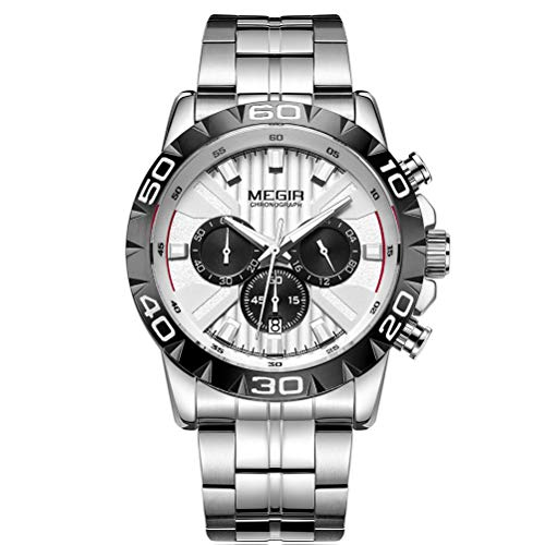 Megir - Orologio da polso da uomo, cinturino in acciaio inox color argento, grande e bianco, quadrante con cronografo, calendario, impermeabile e luminoso