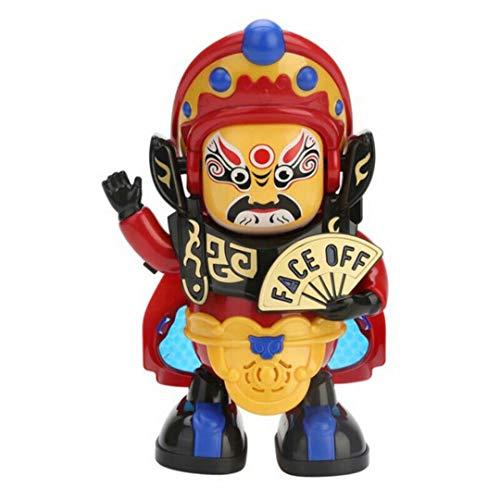 Muñeca Que Cambia de Cara automática, Robot de Baile, con luz y canción, Adorno de Estilo Tradicional Chino para el Dormitorio de la Sala de Estar del hogar