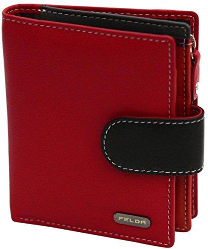 Damen Geldbörse aus Echtleder mit 10 Fächern - RFID-Blocker - Rot & Schwarz