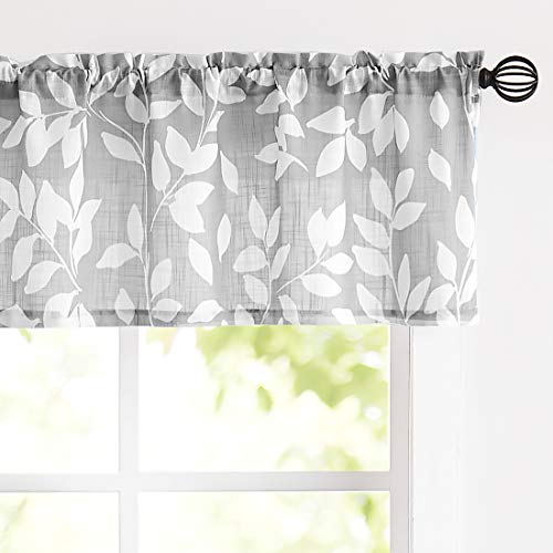 "Treatmentex Grey Valance Curtain for Windows Leaf Print White Window Valances 52"" by 15"" Long 1 Panel"