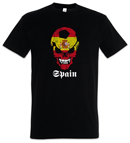 Urban Backwoods Black Classic Spain Football Soccer Skull Flag Camiseta De Hombre T-Shirt