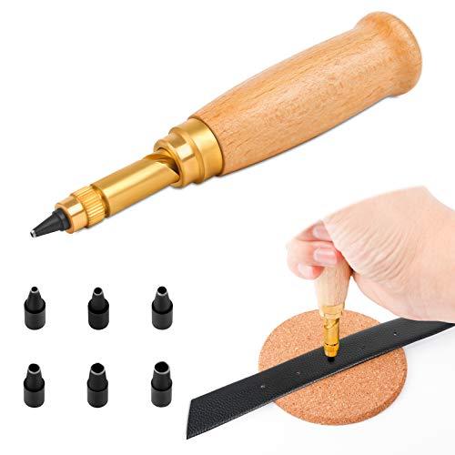 Leder Automatische Locher Leder Stanzen Leder Automatischer Locher mit 6Stk Schlagkopf für Gürtel Nähen Papier Leder Handwerk