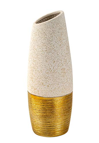 Lifestyle & More Moderne Dekovase Blumenvase Tischvase Vase aus Keramik beige/Gold Höhe 27 cm