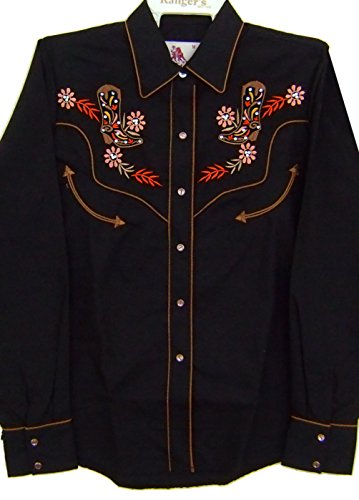 Modestone Women's Embroidered Fitted Western Camisa Vaquera Filigree Cowboy Boot Black L