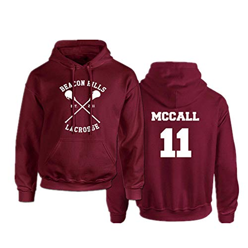 Beacon Hills MCCALL Unisex Hombre Hoodie Impresión Sudadera Capucha de Manga Larga Hooded Pullover Sweatshirt Outfits (3,EU XS(Asian S))