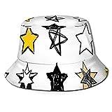 Sombreros de Cubo Dulces dieciséis Estrellas Estilo Dibujado a Mano Arte Colorido Rock Punk Temático Diseño de habitación para Adolescentes Moda Playa Sombrero para el Sol para protección Solar