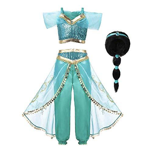 Mooler Princesse Costume Cosplay Conte de Fée pour Enfant Déguisements Filles Soirée Carnaval Halloween (140cm(7-8 Ans), Bleu + wig