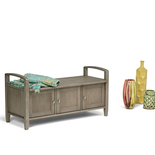 Product Image 2: SIMPLIHOME Warm SOLID WOOD 44 inch Wide Entryway Storage Bench with 3 Doors, Multifunctional Rustic inDistressed Grey