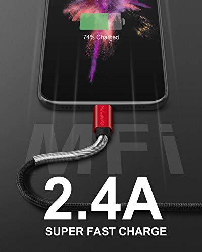 iPhone Ladekabel 7 Zoll für Apple MFi zertifiziert, Cabepow Cose 3 ft Lightning Kabel Schnellladekabel 3 Fuß für iPhone 11/11 Pro /11 Pro Max/XS/XS Max/XR/X/8/8 Plus/7/6/5/SE [2 Pack] Rot