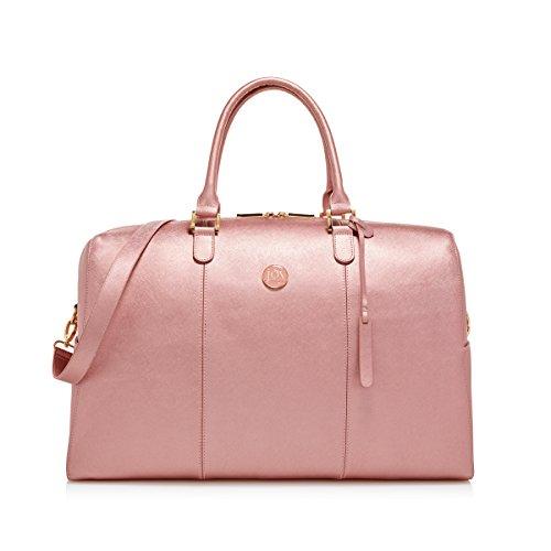Joy Mangano Women's Jm Metallic Leather Weekender Rose Quartz Carry-On Luggage, One Size