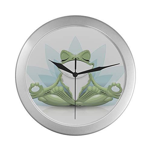 JOCHUAN Wanddekor Uhr Lustige Laubfrosch Meditation Yoga Frosch Wanduhr 40cm 9,65 Zoll Silber Quarzrahmen Dekor für Büro/Schule/Küche/Wohnzimmer/Schlafzimmer