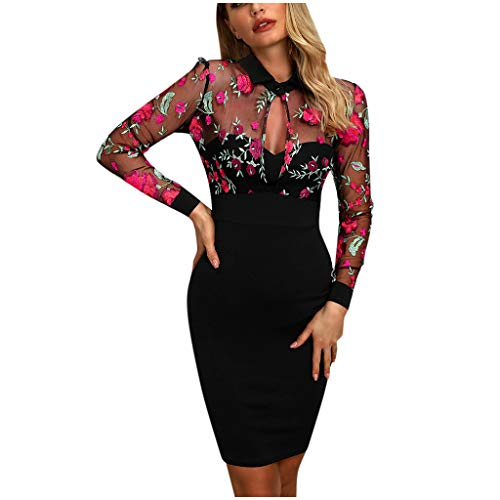 Affordable Witspace Fashion Women Sheer Mesh Floral Embroidery Mesh Patchwork Casual Work Dress