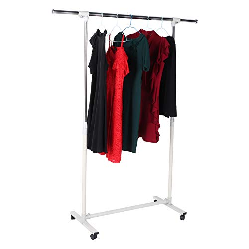 AYNEFY Heavy Duty Clothes Rail, Rolling Garment Rail Clothes Rack with 4 Casters, Metal Garment Hanging Rack Clothes Hanger Coat Display Stand, Adjustable Length 101~141cm/Height 106~174cm