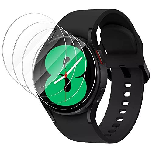 CAVN Protector de Pantalla Compatible con Samsung Galaxy Watch 4 44mm, [4-Piezas] Vidrio Templado Protectora Resistente Rayones protectora para Galaxy Watch 4 (44 mm)