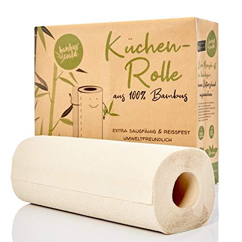bambuswald© nachhaltige Küchenrollen aus 100% Bambus | 24x Rollen á 80 Blatt - 2 lagig saugstark & reißfest | holzfreies Küchenpapier in plastikfreier Verpackung | Haushaltstücher Haushaltsrollen