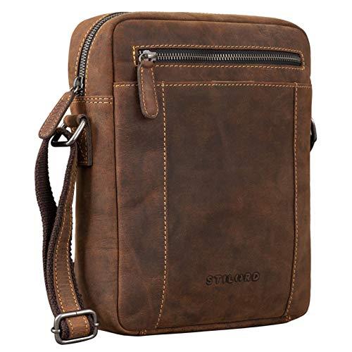 STILORD 'Fox' Herrentasche Leder Vintage Messenger Bag Männer Handtasche klein für 10,1 bis 10,5 Zoll iPad Tablethülle Männer Handtasche Echtleder, Farbe:Sierra - braun
