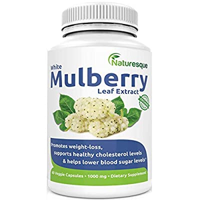 Naturesque White Mulberry Leaf Extract | Controls Appetite, Curbs Sugar & Carb Cravings | Helps Lower Blood Sugar Levels | Perfect for Zuccarin Diet Weight Loss | 1000mg 60 Vegan Capsules