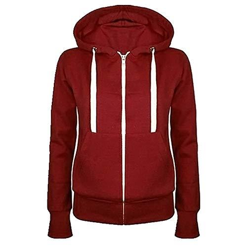 Suéter básico de algodón con capucha para mujer Rojo rosso M