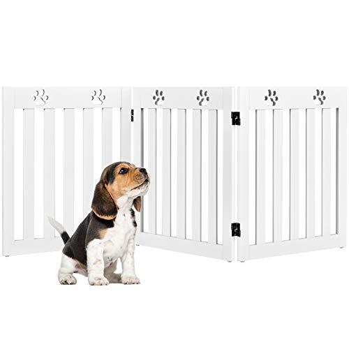 COSTWAY Absperrgitter Hunde, Schutzgitter Holz, Kindergitter klappbar, Treppengitter 60cm Hoch, Hundeabsperrgitter flexibel Türschutzgitter (3 Paneelen, Weiß)