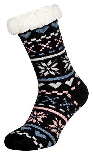 Tobeni 1 Paar Damen Hüttensocken ABS Socken Kuschelsocken mit Anti-Rutsch Noppen Sohle Grösse One Size Farbe Love Schwarz