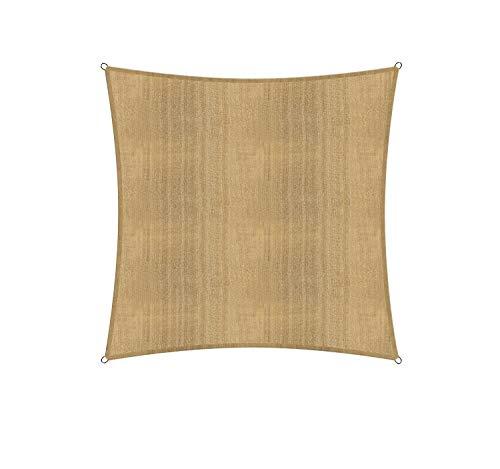 Lumaland Sonnensegel inkl. Befestigungsseile, 100% HDPE mit Stabilisator für UV Schutz, Quadrat 3 x 3 Meter Sand