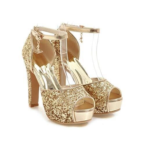 DQS Sandalias de tacón Alto de Verano para Mujer, Calzado con Correa en el Tobillo y Punta Abierta, Sandalias con Plataforma Plateada, Zapatos de Boda para Mujer