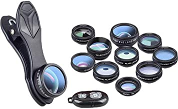 AVODA Pro 10-in-1 Camera Lens Kit W/Bluetooth Remote Shutter Wide Angle Lens & Macro Lens+Fisheye Lens+Telephoto Lens+CPL/Flow/Radial/Star Filter+Kaleidoscope 3/6 Lens for iPhone & Android