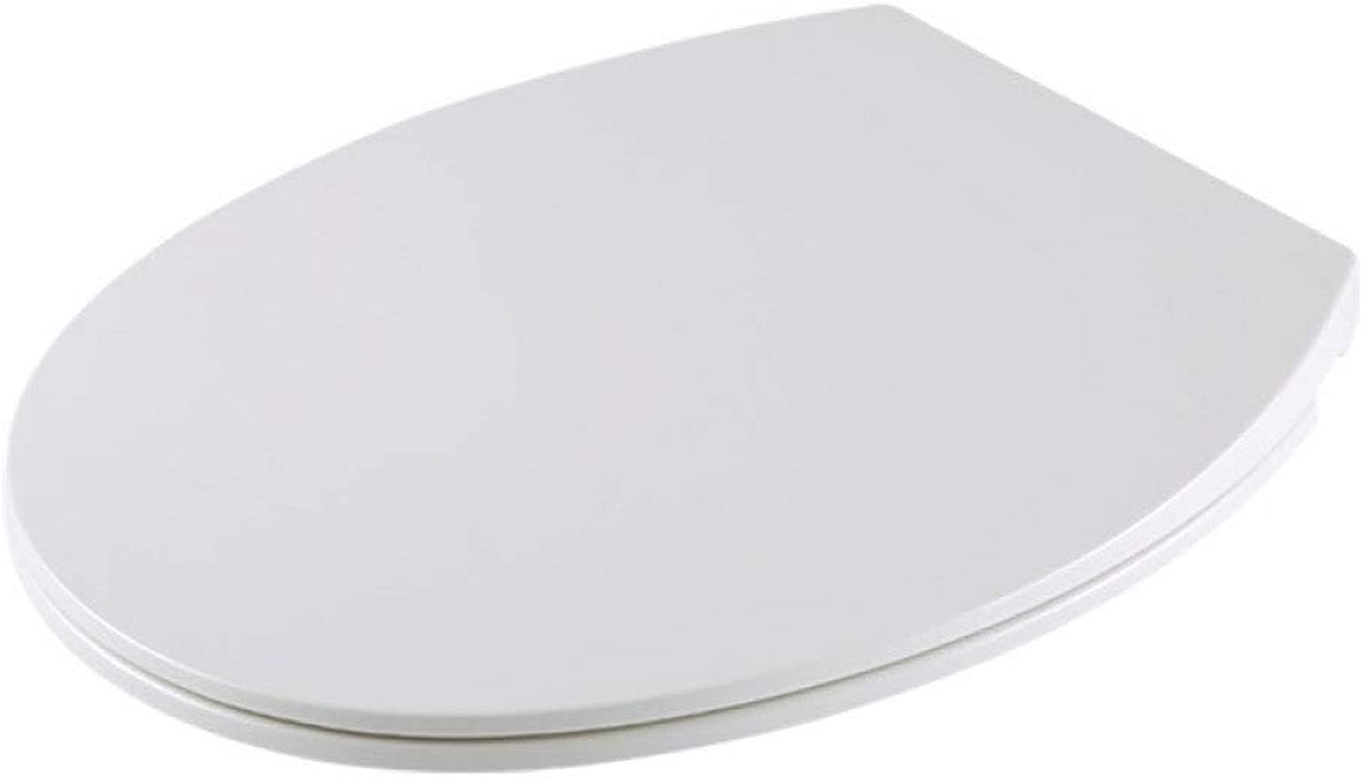 Toilet Lid Toilet Seats, Ultra-thin O Type Toilet Seat Soft Close Antibacterial Adjustable Top Mounted Ultra Resistant For Bathroom,White-40.544.5  37.5cm