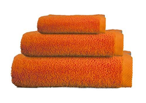 ADP Home - Juego de Toallas 550 Grms 3 Piezas (Toalla Sábana/Baño, Lavabo/Mano, Tocador) 100% Algodón Peinado - Color: Naranja