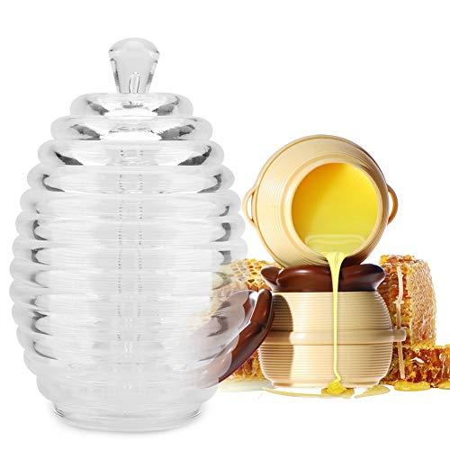 Honingpot, 265 ml Transparante honingcontainer in de vorm van een bijenkorf met druppelpipet voor het bewaren en verspreiden van honing