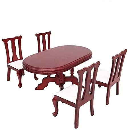 EatingBiting 1:12 Dollhouse Miniature Furniture Red Wooden Dining Table Chairs 5pcs Set 1 Table and 4 Chair Wooden Creative Handcraft Gift for Boys Girls Perfect for Interior Model.