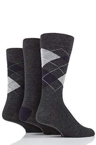 Glenmuir Herren 3 Paar Classic Argyle Socken Holzkohle 2 41-46