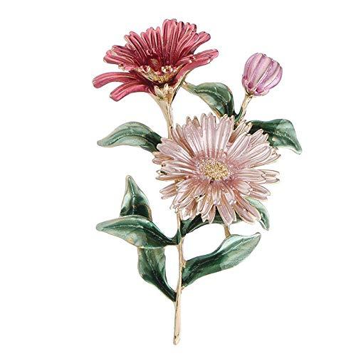 Chennnnnn Planta Flor Aleación Gota Aceite Crisantemo Pin Broche Accesorios Femeninos