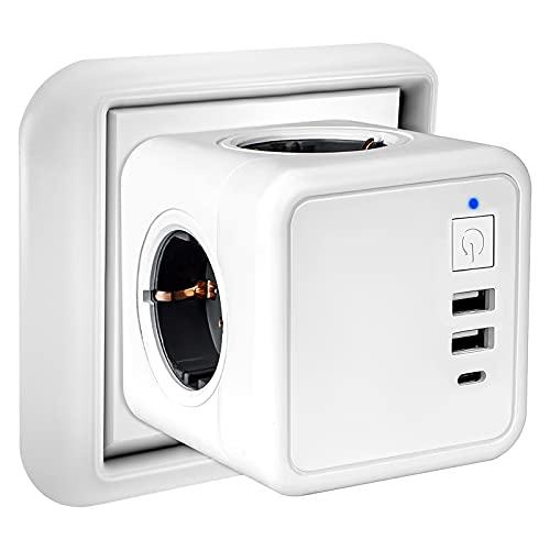 Enchufe USB,7 en 1 Powercube Ladron Enchufes con 4 Tomas de CA,2 Puertos USB y Type C, Cubo Enchufe Multiple Pared con Interruptor, Cargador USB Compatible con Phone, iPad,Tabletas