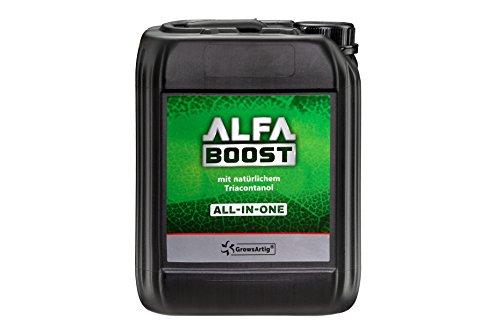 Growsartig ALFA Boost All-IN-ONE Pflanzen-Booster mit Triacontanol 10 Liter. Für Blüte, Wachstum und Bewurzelung. Steigert den Ertrag. Biozertifiziert, 100% organisch und vegan.
