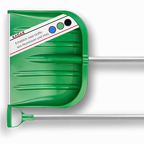 KADAX Schneeschaufel mit ergonomischem Griff, Blattbreite: 49 cm, Kunststoff-Blatt, Schneeschieber, ideale Schneeschippe für kleine und große Schneemengen, Schneeräumer, stabil (Aluminium-Stiel, grün)