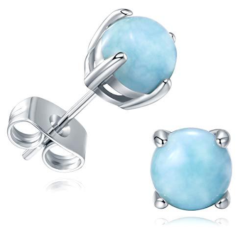 Larimar Ohrringe Silber 925 Damen Mädchen Frauen Nickelfrei Ohrstecker Modeschmuck Geschenk Antiallergische 6mm Runde