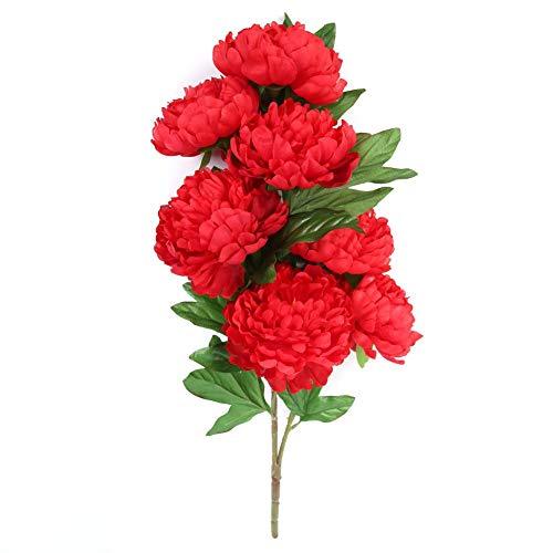Seawang Peonías Artificiales de Seda Despierta Flores Artificiales para Decoraciones Peonías Falsas para Decoraciones Ramo de Flores 8 Cabezas para Jardín, Decoración del Hogar