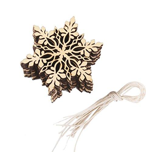 ROSENICE Décoration de Noël de Flocon de Neige en Bois Suspendus Ornement Hexagonal Pendentifs avec Chaîne Pack de 10