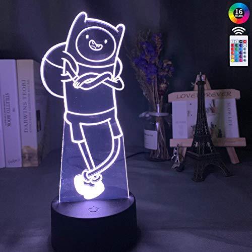 3D optische illusie lamp LED nachtlampje 16 kleuren dimbaar USB Powered Touch Control afstandsbediening voor jongens meisjes kinderen verjaardagscadeau Adventure Time Finn Portrait