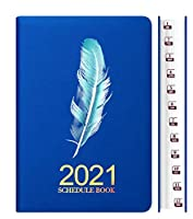 日記2021ウィークリー&マンスリープランナー2021A5プレミアムシックペーパーバレンタインアニバーサリーバースデーギフトforKid Boy Girl Men Women-青い