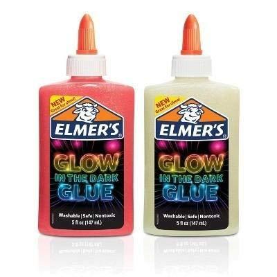 Kit Cola Elmers Glow in the dark Glue Brilha escuro (Branca e rosa)