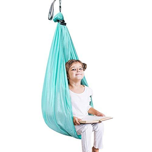 WCX Therapieschaukel für Kinder, Hängematte, Netzstoff, für Kinder mit besonderen Bedürfnissen, ADHS, ultraweich, verstellbar, für drinnen und draußen, Farbe: Blau, Größe: 1 x 2,8 m
